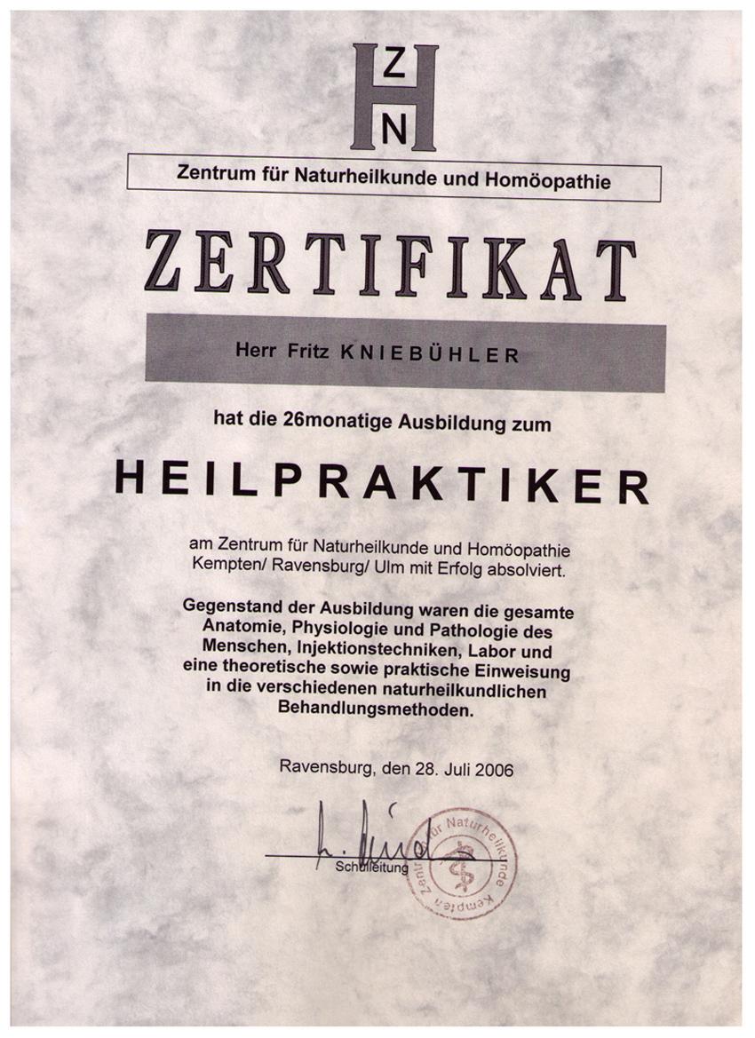 Zertifikate - aus dem Raum Allgäu, Bodensee und Ravensburg